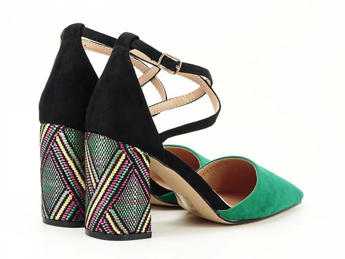 Pantofi decupati lateral cu toc mediu Etnica 4