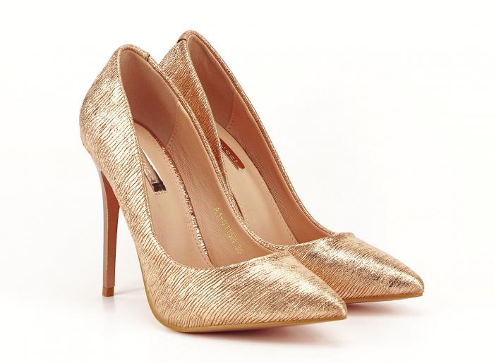 Pantofi eleganti stiletto champagne Ingrid 1
