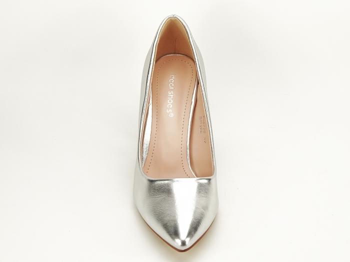 Pantofi eleganti argintii cu toc inalt si gros Ariana 3