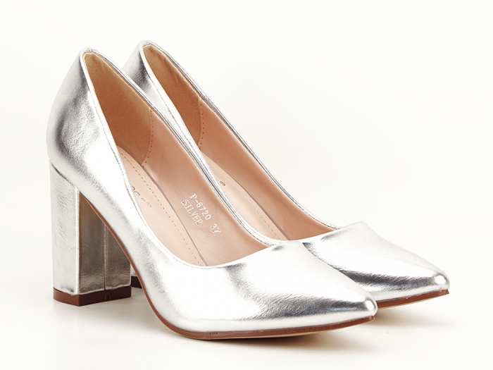 Pantofi eleganti argintii cu toc inalt si gros Ariana 2