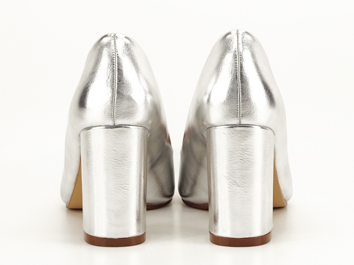 Pantofi eleganti argintii cu toc inalt si gros Ariana 5