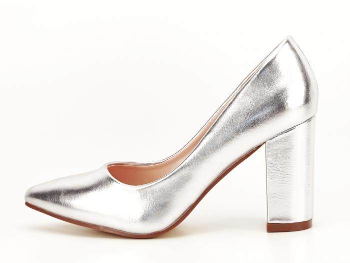 Pantofi eleganti argintii cu toc inalt si gros Ariana 0
