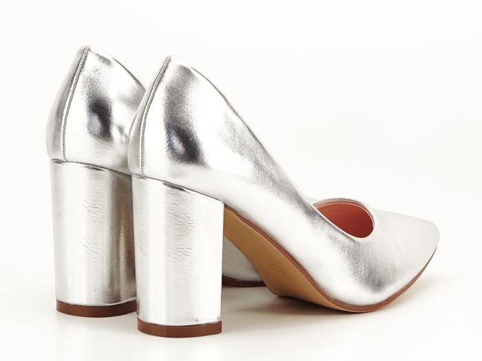Pantofi eleganti argintii cu toc inalt si gros Ariana 7
