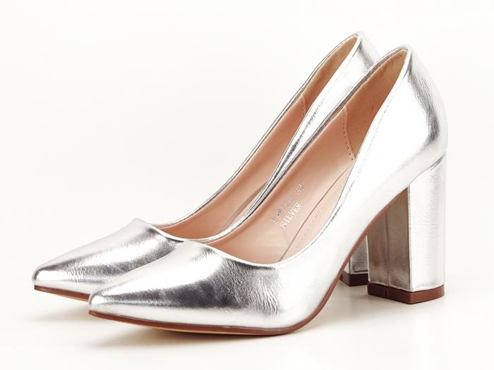 Pantofi eleganti argintii cu toc inalt si gros Ariana 4