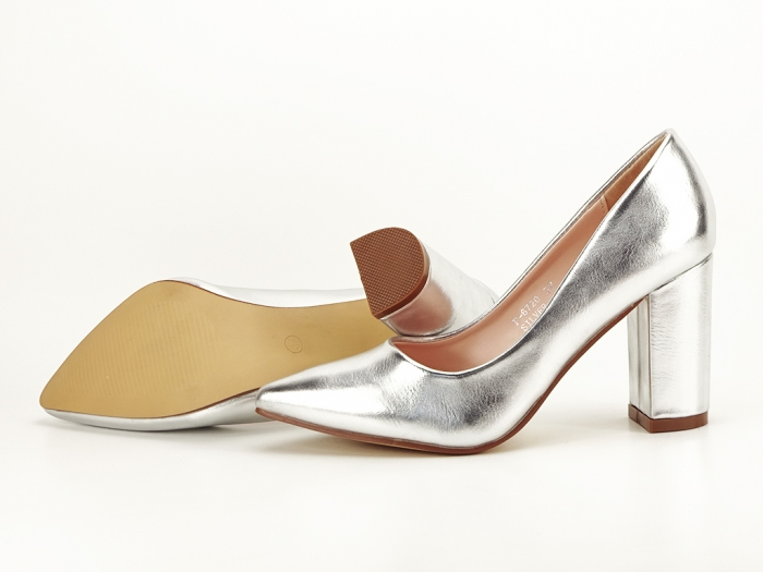 Pantofi eleganti argintii cu toc inalt si gros Ariana 6