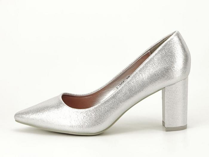 Pantofi eleganti argintii cu toc gros Barbara 0