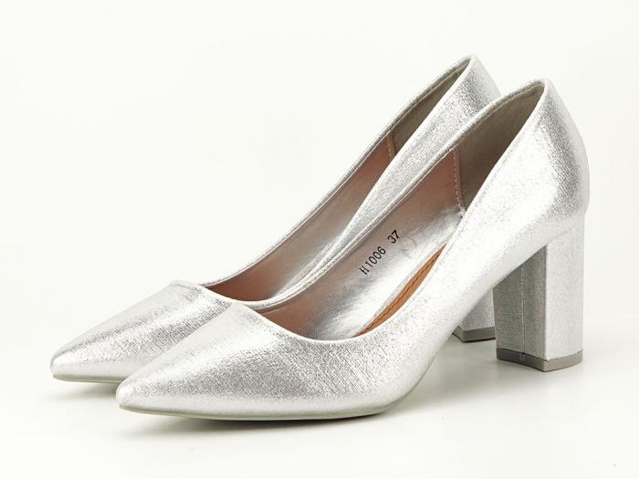 Pantofi eleganti argintii cu toc gros Barbara 6