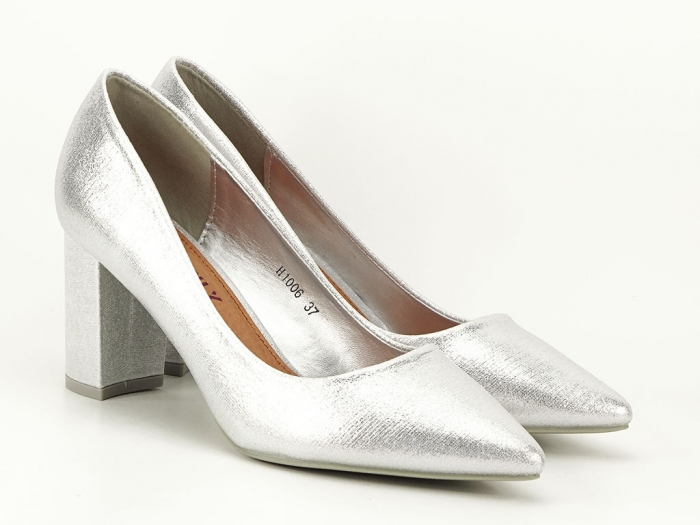 Pantofi eleganti argintii cu toc gros Barbara 2
