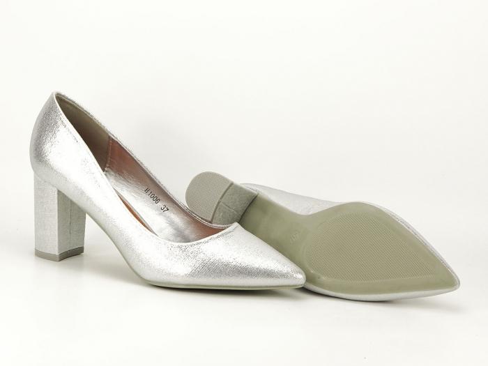 Pantofi eleganti argintii cu toc gros Barbara 7