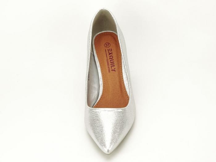 Pantofi eleganti argintii cu toc gros Barbara 5