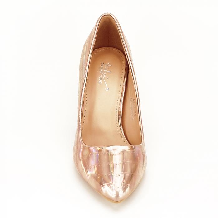 Pantofi champagne cu imprimeu reptila Fancy 5