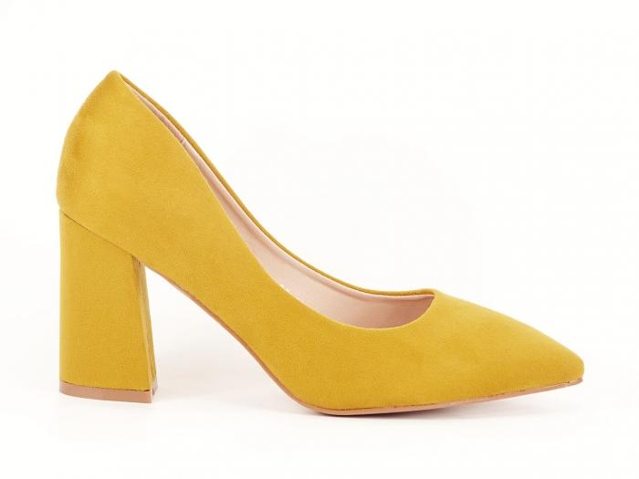 Pantofi din velur galben mustar cu toc gros Anais 0