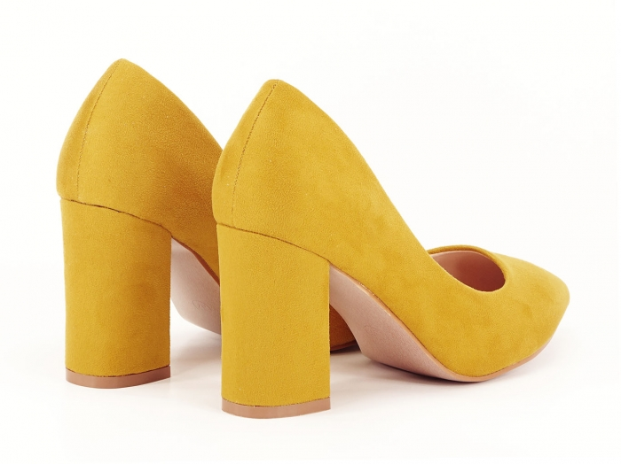 Pantofi din velur galben mustar cu toc gros Anais 2