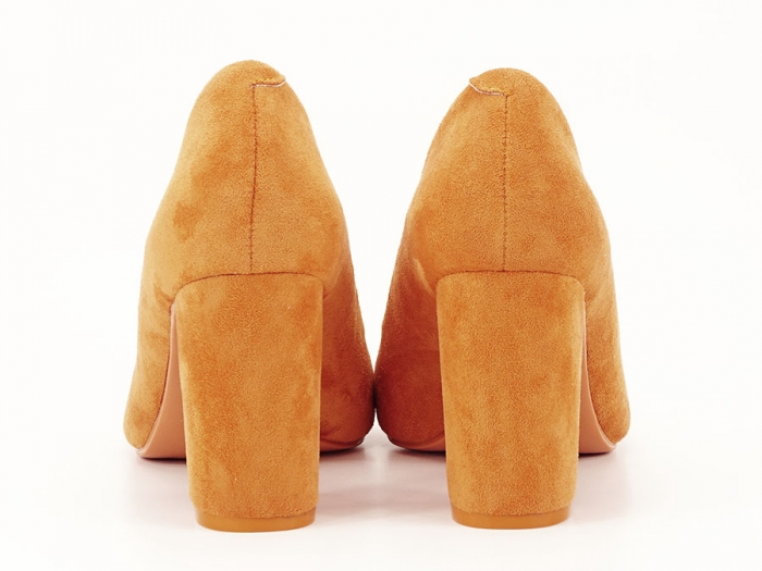 Pantofi galben mustar cu toc gros de 8.5 cm  Anina 3