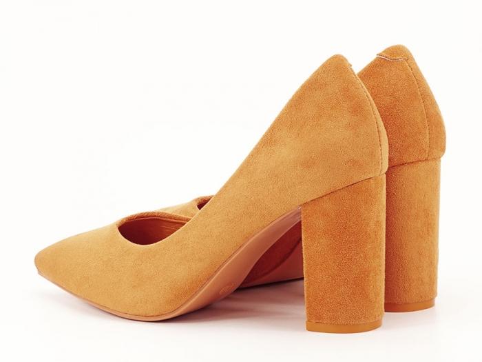 Pantofi galben mustar cu toc gros de 8.5 cm  Anina 6