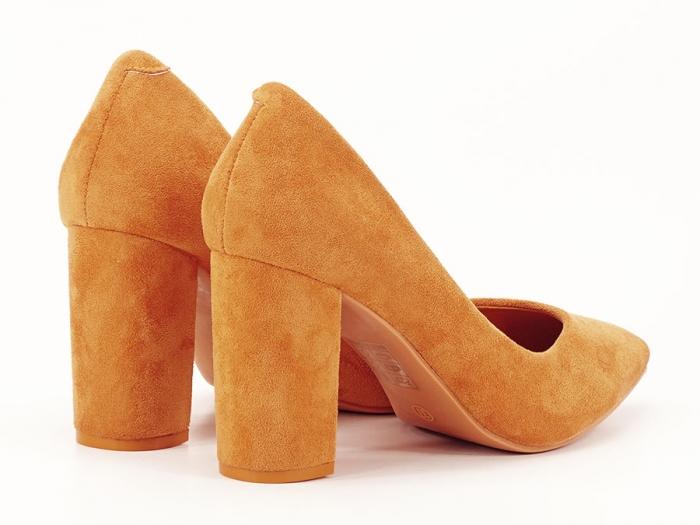 Pantofi galben mustar cu toc gros de 8.5 cm  Anina 1