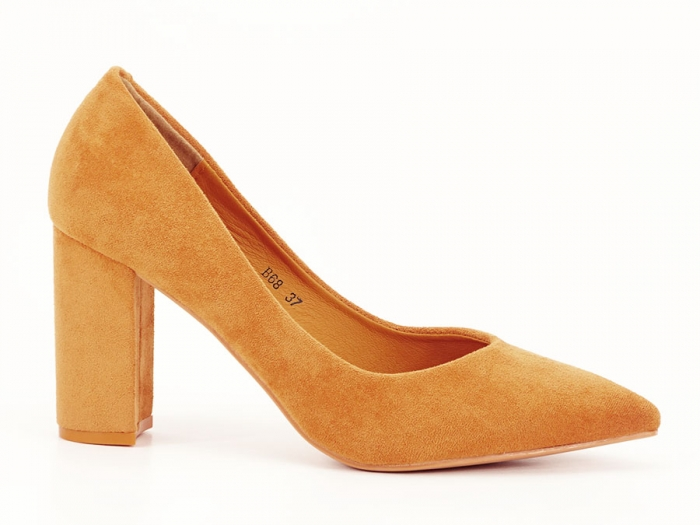 Pantofi galben mustar cu toc gros de 8.5 cm  Anina 0