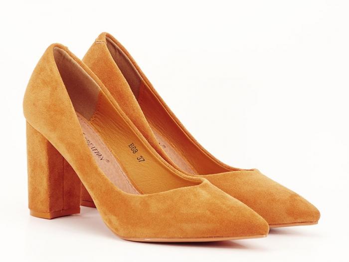 Pantofi galben mustar cu toc gros de 8.5 cm  Anina 5