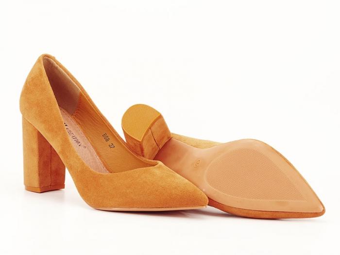 Pantofi galben mustar cu toc gros de 8.5 cm  Anina 7