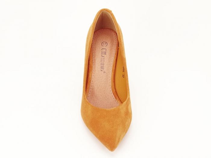 Pantofi galben mustar cu toc gros de 8.5 cm  Anina 4