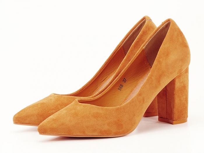 Pantofi galben mustar cu toc gros de 8.5 cm  Anina 2