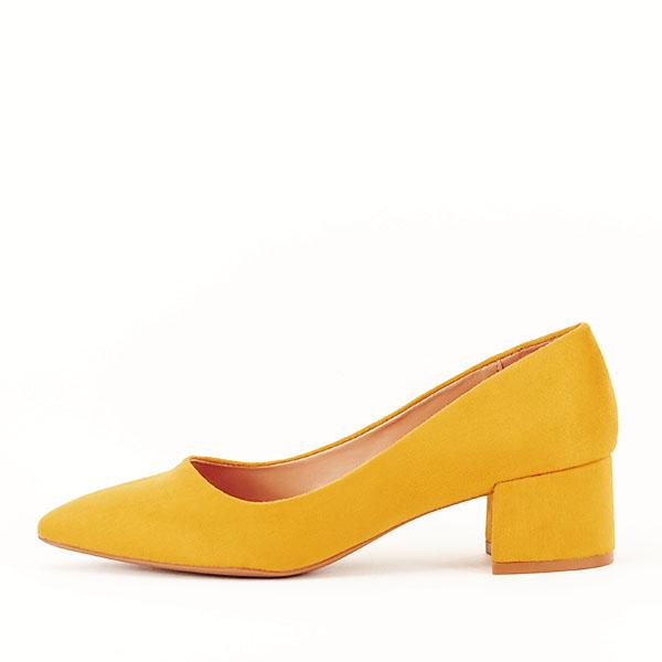 Pantofi galben mustar cu toc mic Carla [0]