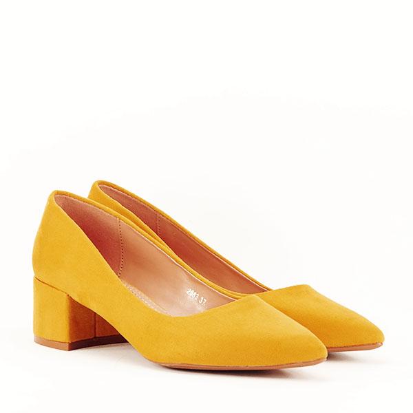 Pantofi galben mustar cu toc mic Carla [3]