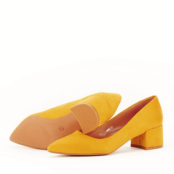 Pantofi galben mustar cu toc mic Carla [4]