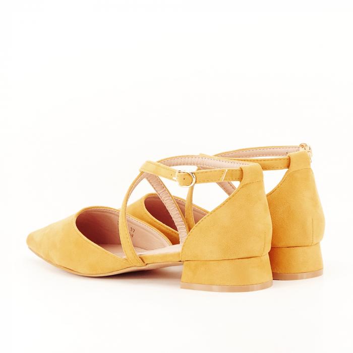 Pantofi galbeni cu toc mic si comod Carmen 7
