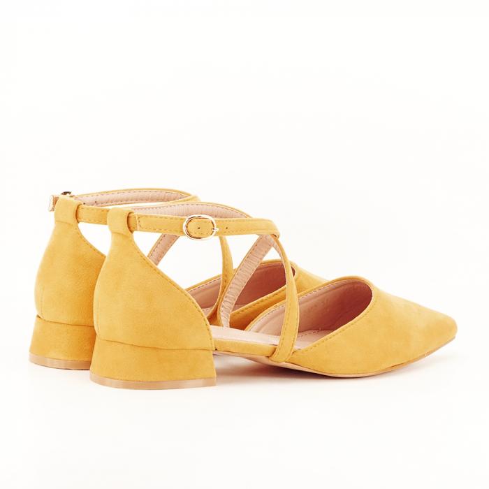 Pantofi galbeni cu toc mic si comod Carmen 2