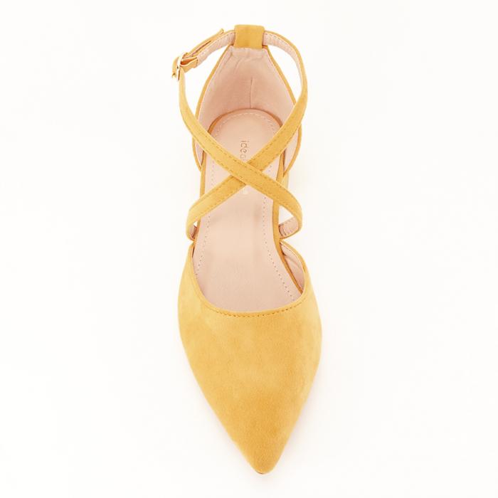 Pantofi galbeni cu toc mic si comod Carmen 3