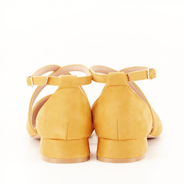 Pantofi galbeni cu toc mic si comod Carmen 6