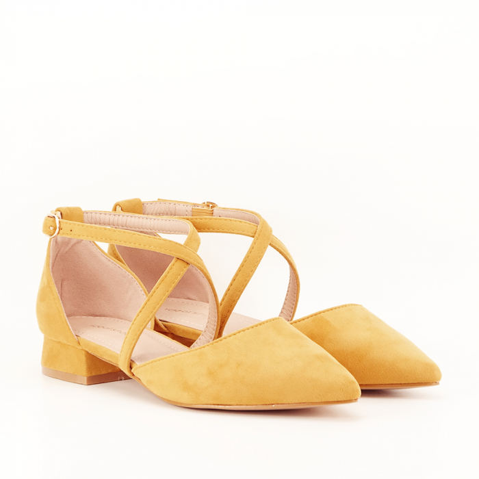 Pantofi galbeni cu toc mic si comod Carmen 5