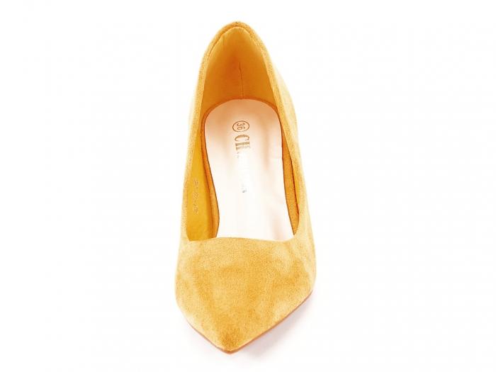 Pantofi galben mustar cu toc mic Cristina 6