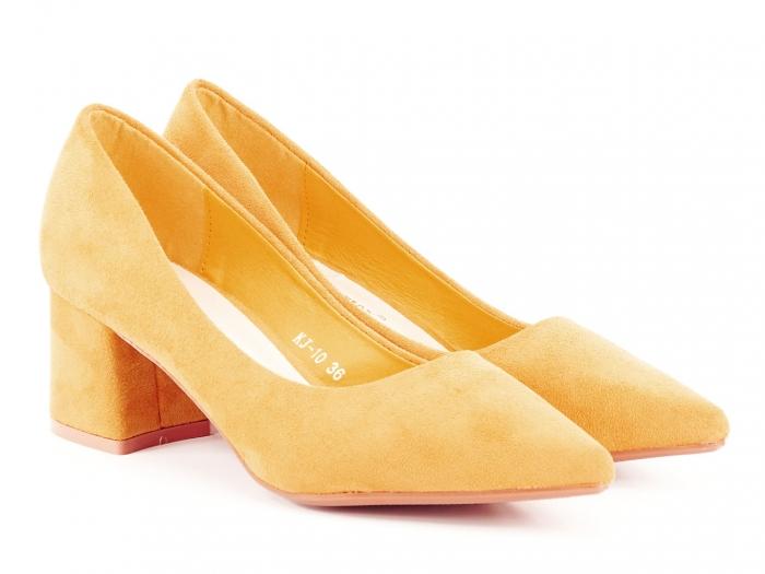 Pantofi galben mustar cu toc mic Cristina 1