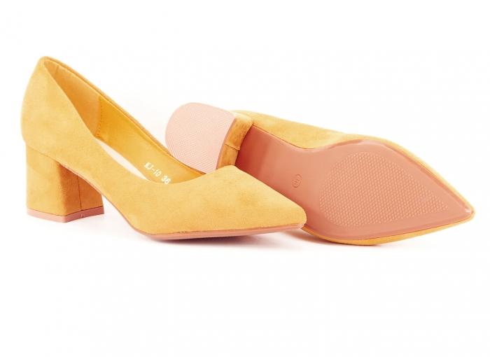 Pantofi galben mustar cu toc mic Cristina