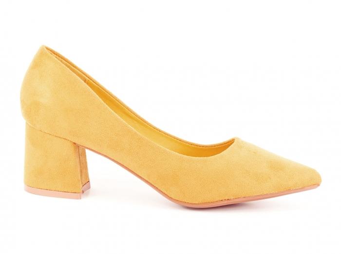 Pantofi galben mustar cu toc mic Cristina 0