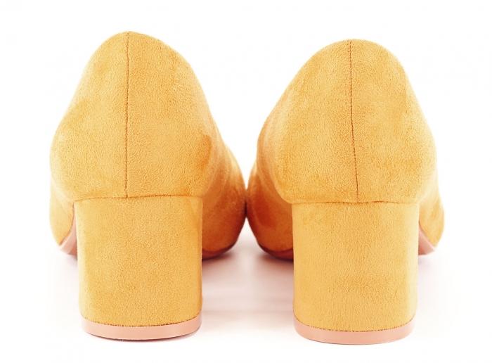 Pantofi galben mustar cu toc mic Cristina 4