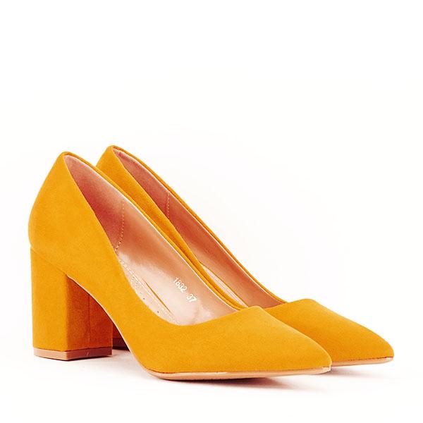 Pantofi galbeni cu toc gros Adelina 2