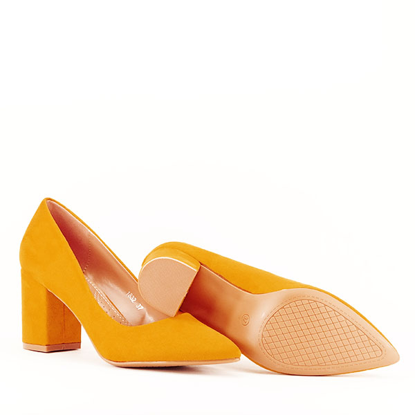 Pantofi galbeni cu toc gros Adelina 7