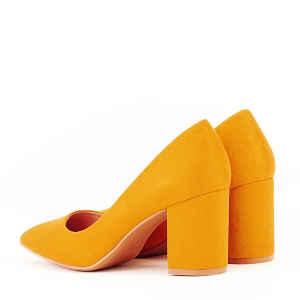 Pantofi galbeni cu toc gros Adelina 3