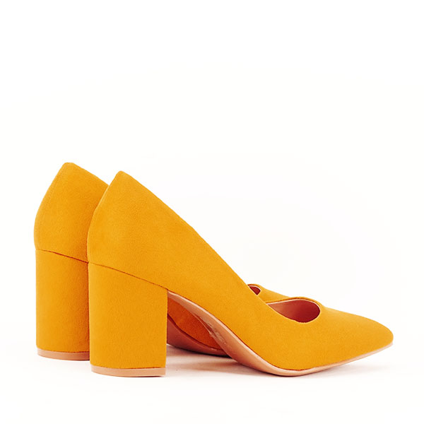 Pantofi galbeni cu toc gros Adelina 4