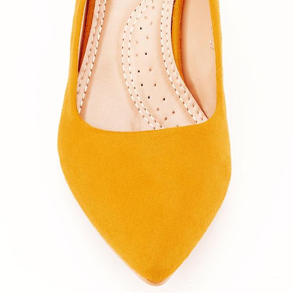 Pantofi galbeni cu toc gros Adelina 6