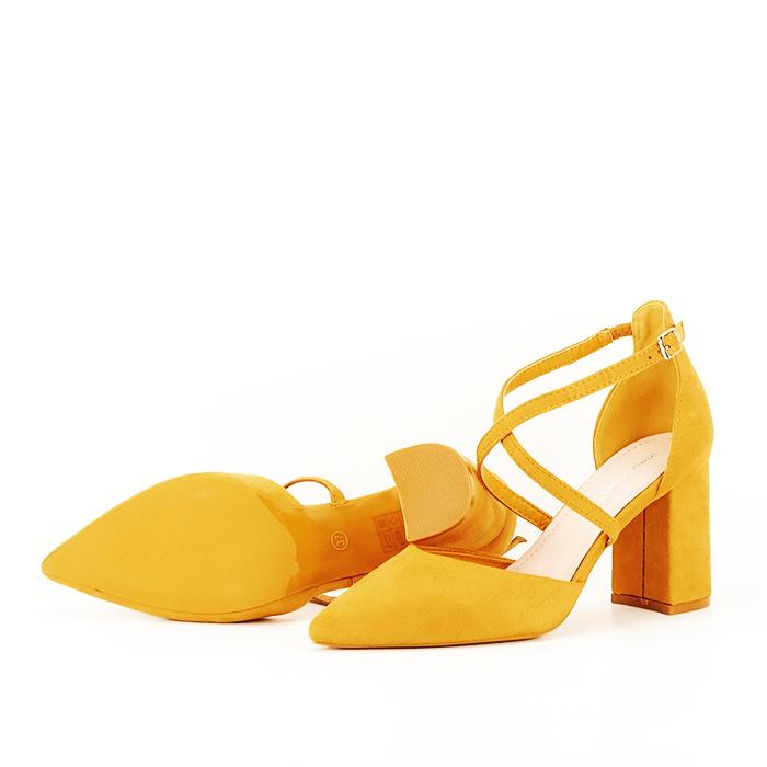 Pantofi galben mustar cu toc gros Amira [6]