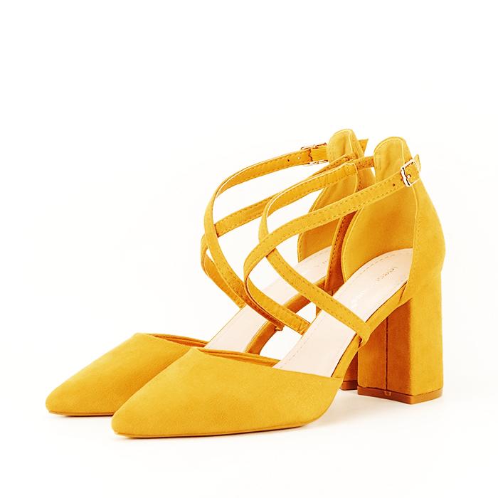 Pantofi galben mustar cu toc gros Amira [0]