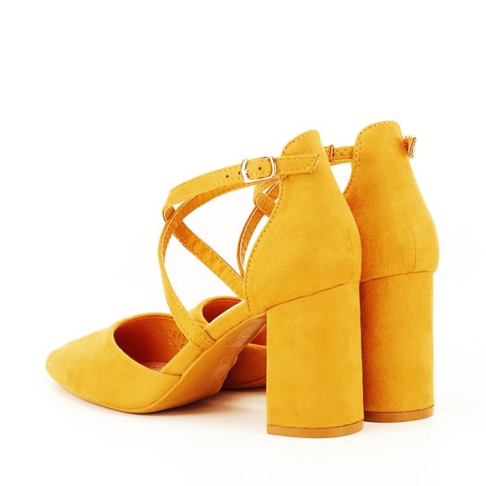 Pantofi galben mustar cu toc gros Amira [5]