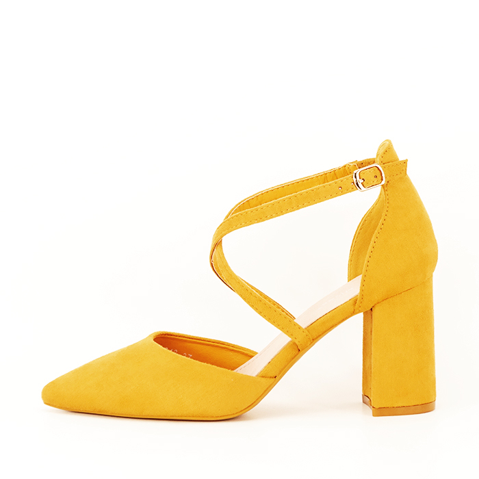 Pantofi galben mustar cu toc gros Amira [1]