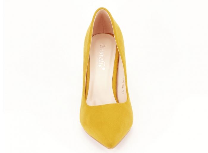 Pantofi din velur galben mustar cu toc gros Anais 4