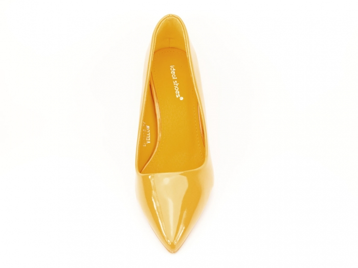 Pantofi galbeni de lac cu toc gros Iris 2