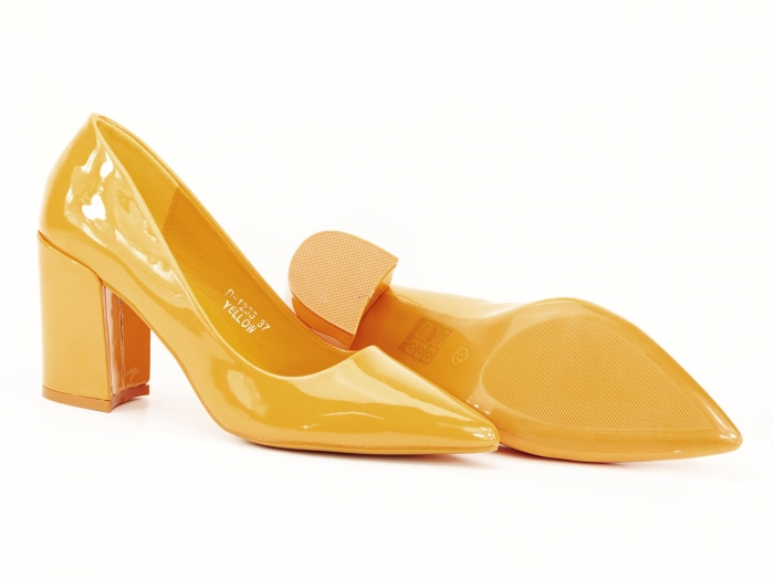 Pantofi galbeni de lac cu toc gros Iris 4